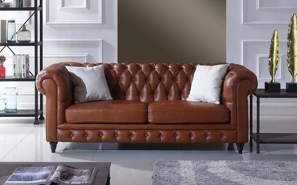 Crawley Leather Chesterfield Sofa | Sofamania.com