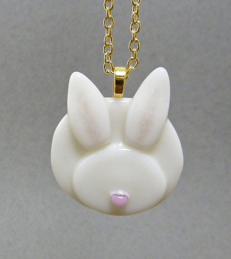 Bunny Necklace - This fused glass art necklace is so sweet and it's a piece of handmade jewelry. Almost all white, there is just a sprinkle of light pink in the ears and he/she has the tiniest little pink nose. By Whispering Raven Co
