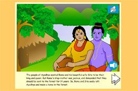 The story of Rama and Sita - a popular Hindu story to tell about the first Diwali. Simple text and full sound support, with beautiful illustrations and animated pages.