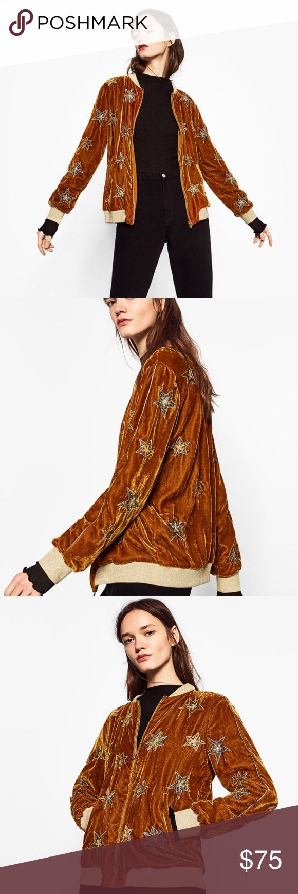 Zara Velvet Bomber Jacket Velvet bomber jacket by Zara with embroidered stars. Brand new with tag. Sold out online. Size small. Hip length with long sleeves and side pockets. Fully lined. Zara Jackets & Coats