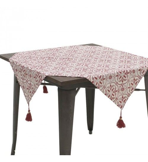 FABRIC TABLE COVER W_TASSELS IN RED_WHITE COLOR 90X90