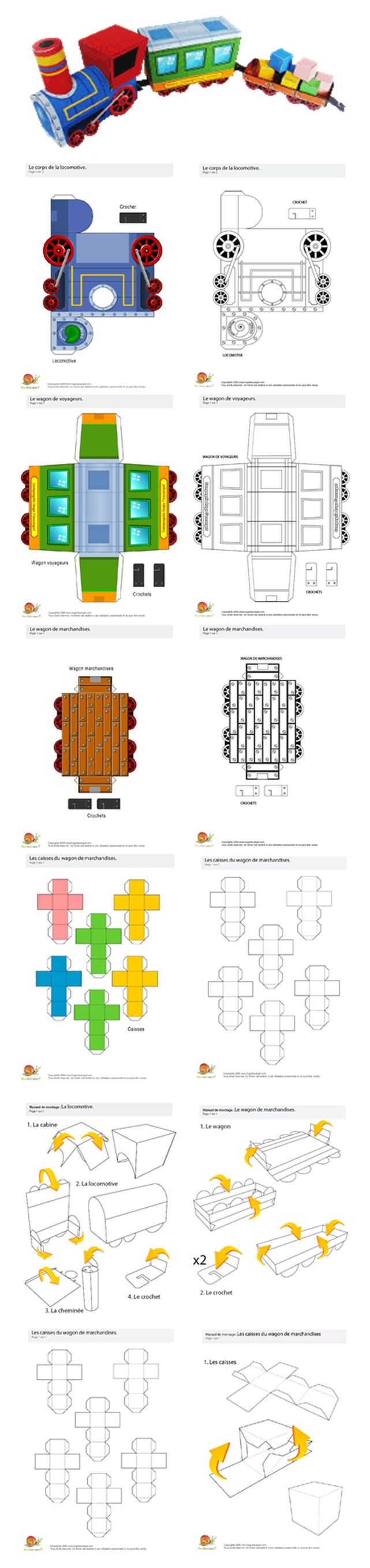 Train en papier imprimable - Más imprimibles GRATUITOS en http://www.fiestuqueando.blogspot.com.es