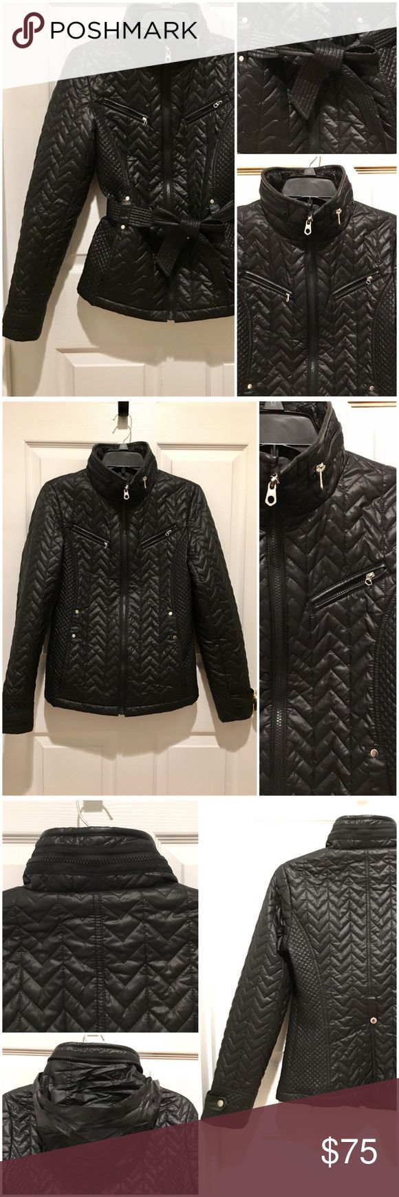 Nautica Quilted Black Coat | Size XS With Faux Leather-trim, this quilted wind-repellent jacket is lightweight, perfect for transitional weather - Removable / adjustable sash belt accentuates the waistline for a flattering silhouette - Flexible scuba neckline with Zip-out hood - Machine washable - Excellent condition, Used 5x at most - Includes original sash belt. Back center snap was sewed-in to be secured. ❤️All of my items are stored in a smoke-free home. ❤️Freebies await buyers with…