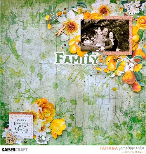 'Family' Layout by Tatiana Yemelyanenko DT member for Kaisercraft Official Blog. Featuring the 2017 July 'Golden Grove' collection. Learn more at kaisercraft.com.au/blog/        Wendy Schultz - Kaisercraft Layouts.