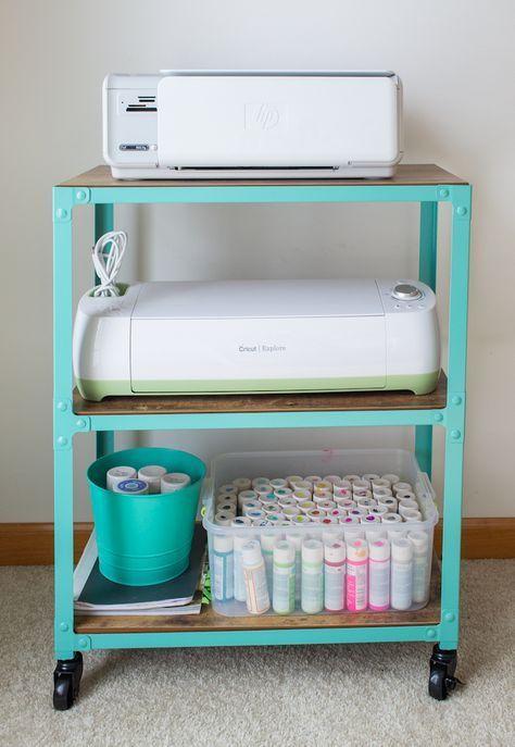 4 shelves Top: Cricut  2nd:  Big Shot  3rd: baskets- cartridges, folders, embosslits, paper Bottom: printer