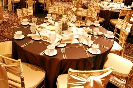 brown and gold wedding table setting