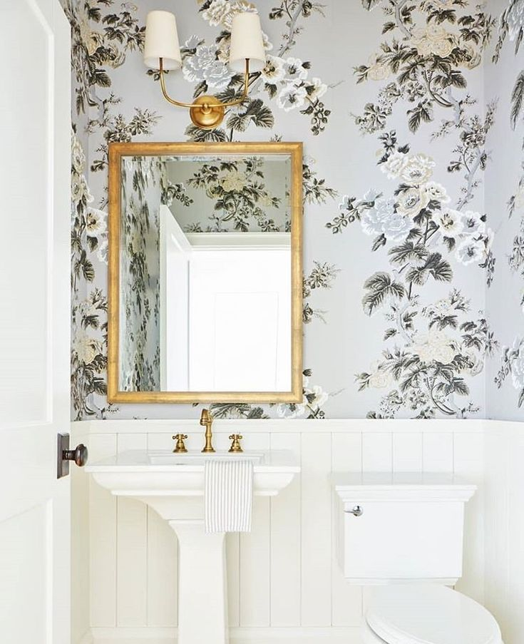 Powder Room With Pretty Floral Wallpaper Powder Room Small Bathroom Decor Bathroom Wallpaper