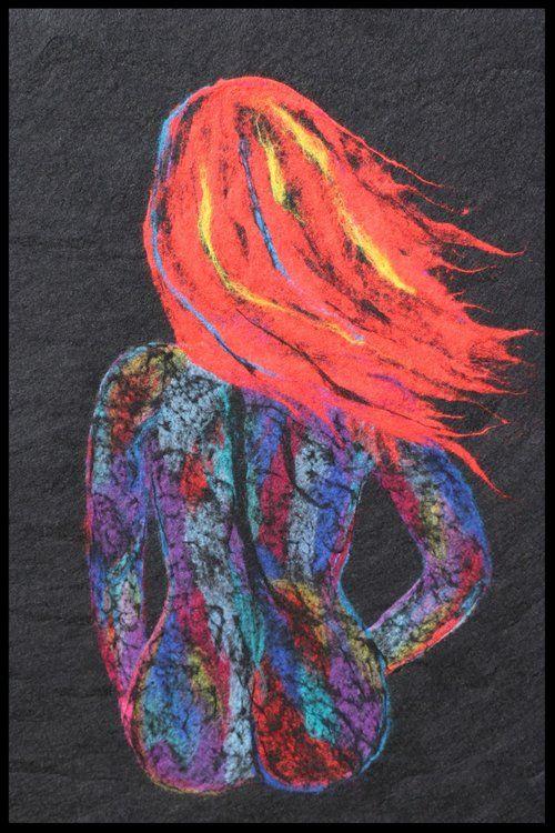 Redhead . 2016  Wet wool felting technique. 86 * 123 cm