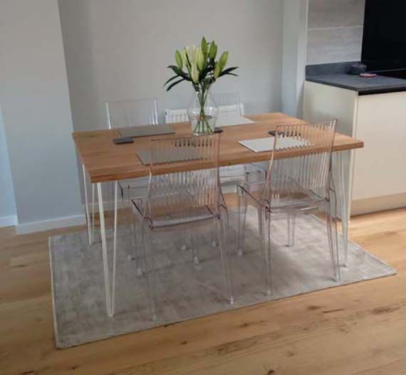 Solid Oak Dining Table, Industrial Style Solid Oak Kitchen Table, Hairpin Legs Dining Table This is a piece of Stunning Oak Furniture, handmade in the UK. We hand-make every piece in our Cheshire workshop. We have sourced this timber from responsibly sourced forests. Each table