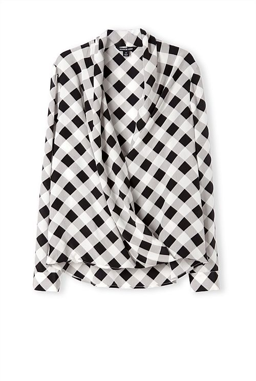 Love this Gingham Print Silk Wrap Shirt from CR