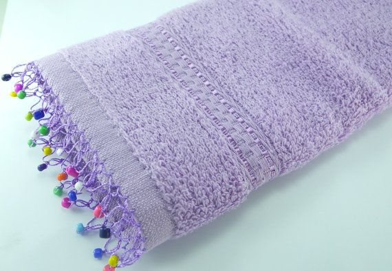 Purple Hand Towel  Needle lace with Processing  Mix Beads by fyonk
