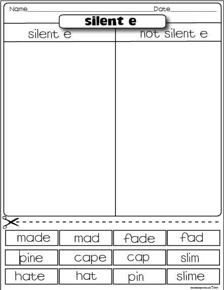 The Lesson Plan Diva: Freebies Silent e/ Not Silent e sorting activity