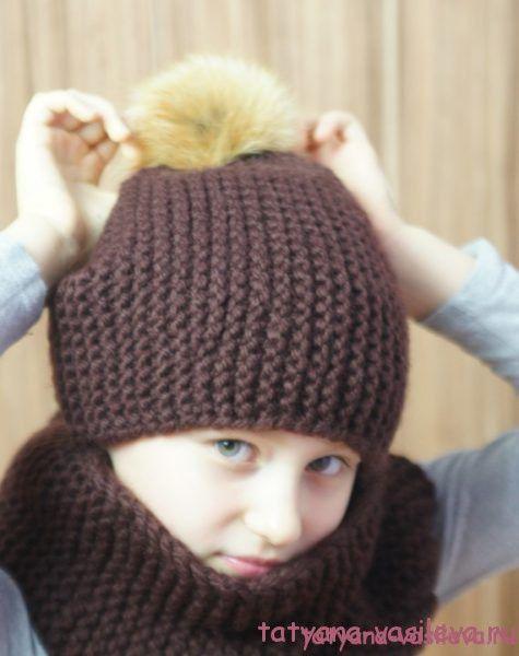 вязаная шапка бини с помпоном