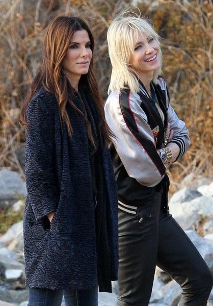 Cate Blanchett and Sandra Bullock on the set of 'Oceans Eight' shooting a friendly scene in Brooklyn's Red Hook area.