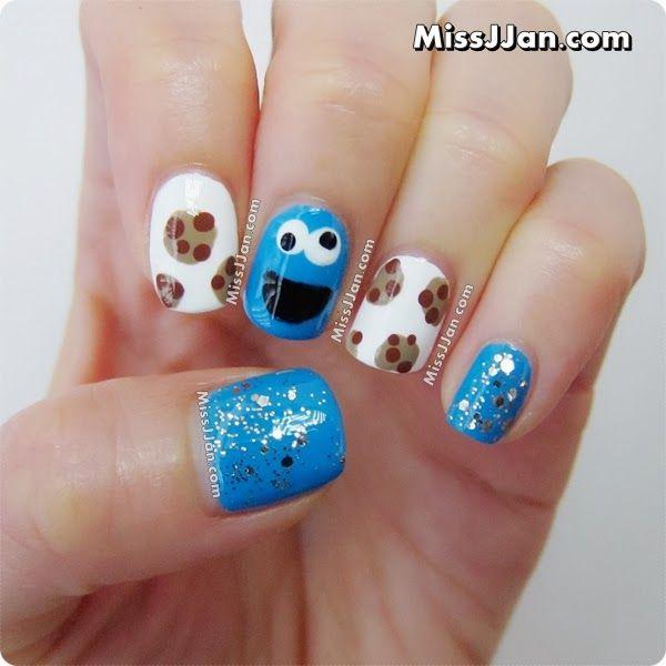 MissJJan's Beauty Blog ♥: Sesame Street Cookie Monster Inspired Nail Art {Tutorial}