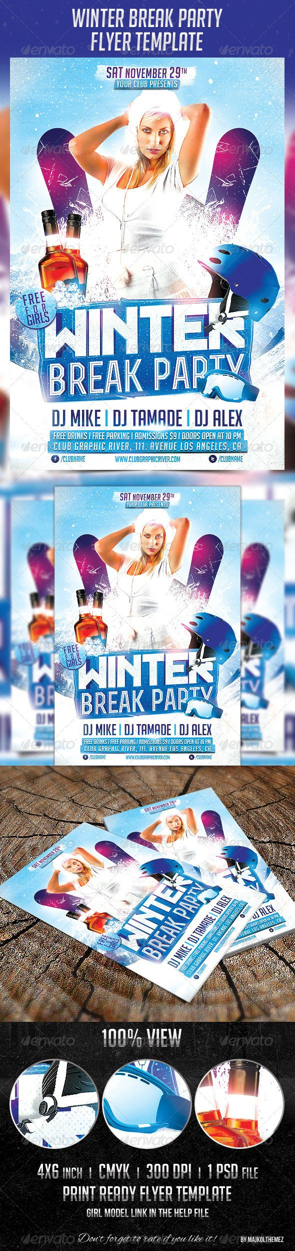 winter break party flyer template a good way to promote your winter break   winter holiday