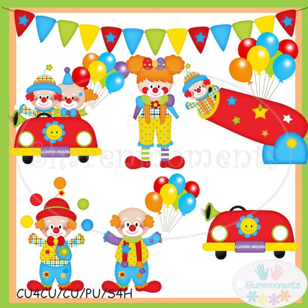 Bring in the Clowns Cute Digital Clipart for Card Design, Scrapbooking, and Web Design. $4.00, via Etsy.