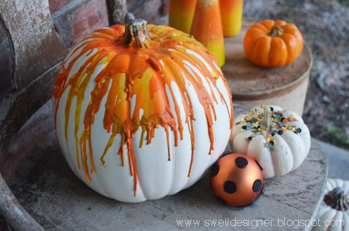 Alexa at The Swell Designer used a hair dryer, tacky glue, and Crayons in varying shades of yellow and orange to create this candy corn-inspired pumpkin.    - CountryLiving.com