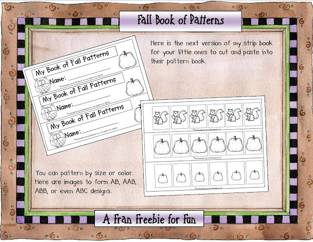 """My Book of Fall Patterns"" is a strip book for creating patterns with autumn images from Fran Kramer on the Kindergarten Crayons blog."