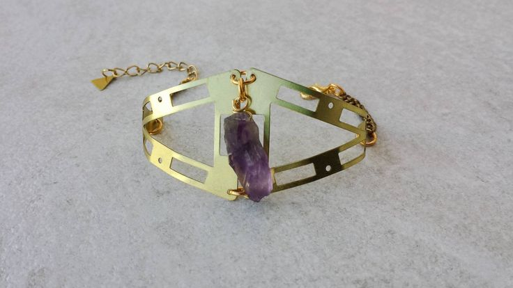 Geometry Brass Cuff, Bracelet with Amethyst Natural Stone, Bohemian Bracelet, Valentine's Gift, Gift for Her by Lycidasjewelry on Etsy