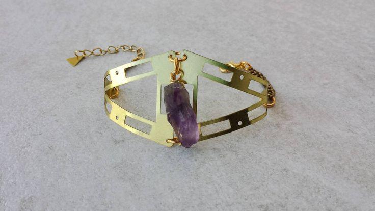 Geometry Brass Cuff, Bracelet with Amethyst Natural Stone, Bohemian Bracelet, Valentine's Gift, Gift for Her by Lycidasjewelry on Etsy