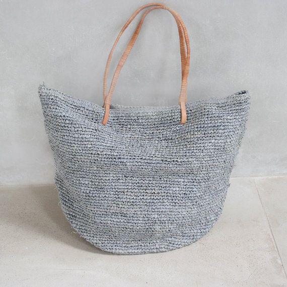 Beach bagStraw Bag Straw Beach BagLarge Bag by MOOSSHOP on Etsy, $39.95