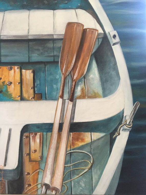 Original canvas painting Nautical boatLarge by ArchStudioGallery