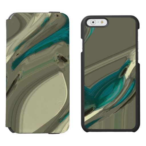 Grey and Blue Abstract Art / Incipio Watson™ iPhone 6, 2-in-1 Wallet Case + Interior Case! #fomadesign
