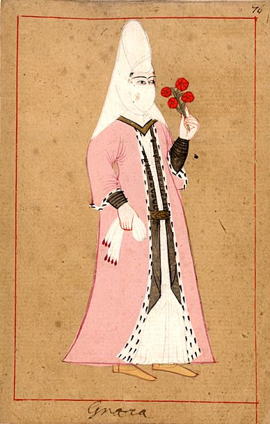 Greek woman. The 'Rålamb Costume Book' is a small volume containing 121 miniatures in Indian ink with gouache and some gilding, displaying Turkish officials, occupations and folk types. They were acquired in Constantinople in 1657-58 by Claes Rålamb who led a Swedish embassy to the Sublime Porte, and arrived in the Swedish Royal Library / Manuscript Department in 1886.