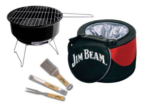 Jim Beam JB0105 5-Piece Mini Cooler & Grill combo Set with BBQ tools by Style Asia. $39.99. Included insulated cooler bag keeps beverages and other food items cold. 5-Piece Cooler and Grill set. Includes a portable mini charcoal grill. Features a 3-piece bbq tool set which stores neatly in the bottom of the cooler bag. Measures approximately 11-1/2 by 8 by 11-4/5 inches. This convenient set includes a portable mini charcoal grill that is great for cooking all of your fa...