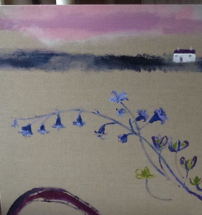 New Works - Cornish Landscapes - Home - simple motif - box canvas- mixed media - Nathan Davies