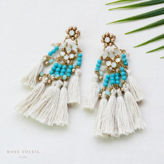 Rose Soleil Jewelry Tropical Sky Collection | ローズソレイユジュエリー ✧  クリスタルタッセルピアス ✧ トロピカルスカイコレクション