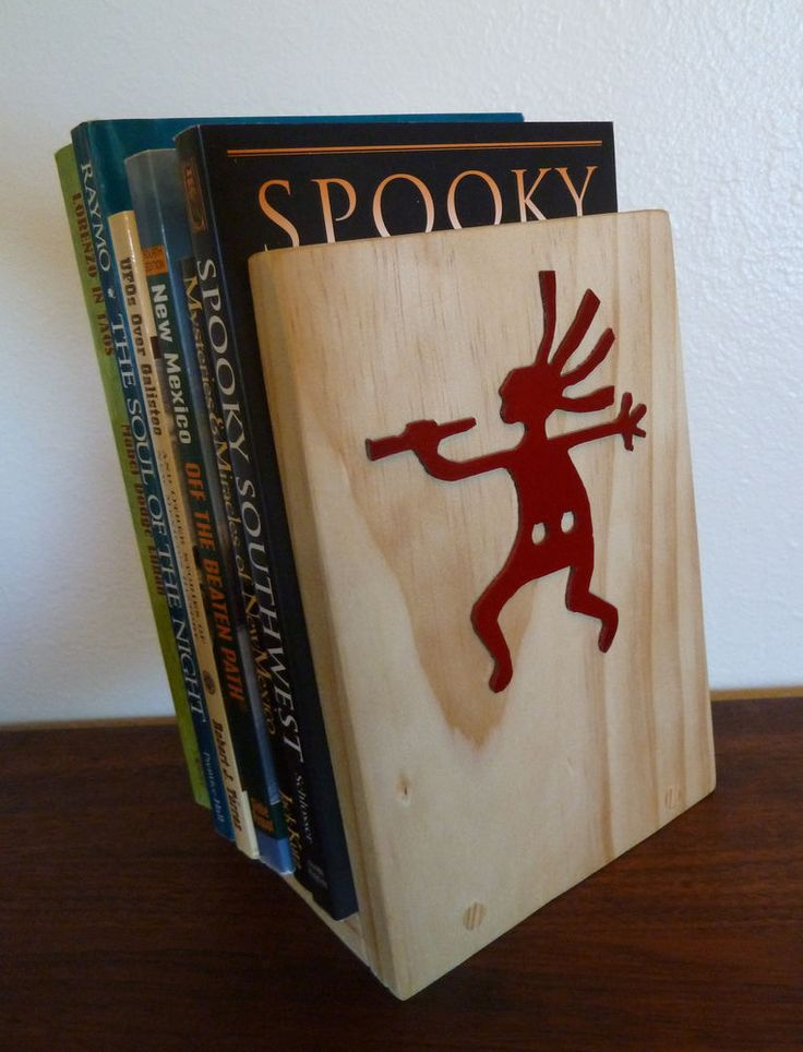 Southwestern Bookends Rustic Wood w/ Metal Kokopelli Pair Set Wooden Book Ends #AristonZoe #Southwestern