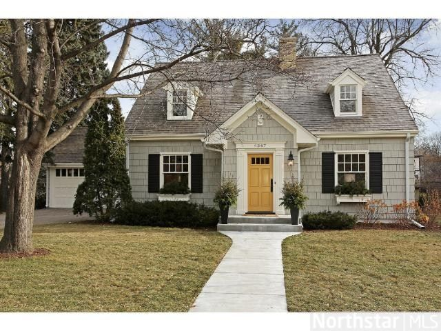 gray house black shutters yellow door home pinterest. Black Bedroom Furniture Sets. Home Design Ideas