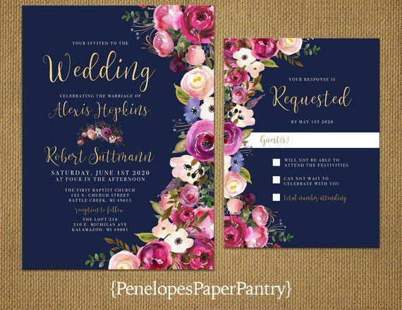 Elegante marine zomer bruiloft uitnodiging, paars, roze, blauw, peony, rozen, gouden print, S …