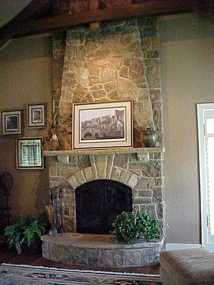 faux stone fireplaces ideas - Google Search