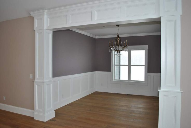 Cased Opening Interior Column Styles Wainscoting And Chair Rail Into Dining Room Amp