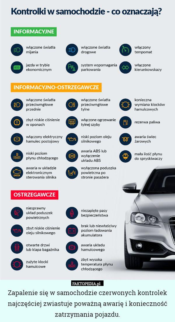 Zapalenie się w samochodzie czerwonych kontrolek najczęściej zwiastuje poważną – Zapalenie się w samochodzie czerwonych kontrolek najczęściej zwiastuje poważną awarię i konieczność zatrzymania pojazdu.