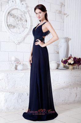 Navy Blue Empire Brush Train Chiffon Beading Evening Dress
