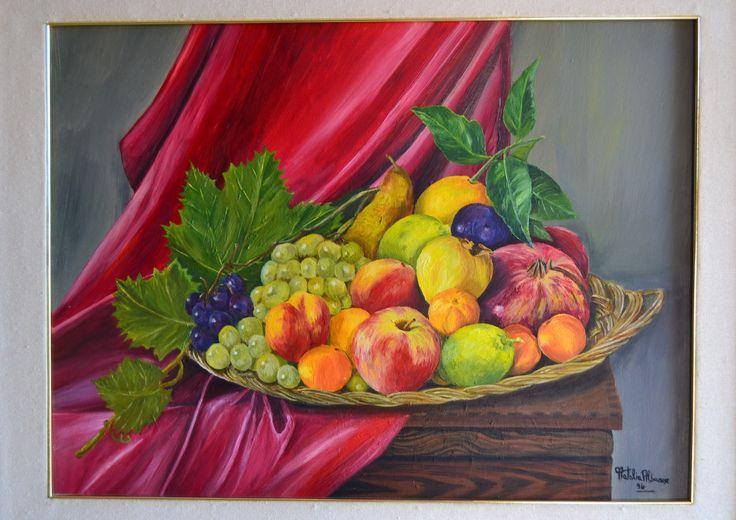 """""""Composizione di frutta"""" olio su tela 40 x 60 -1994  autore Natalia Albanese"""