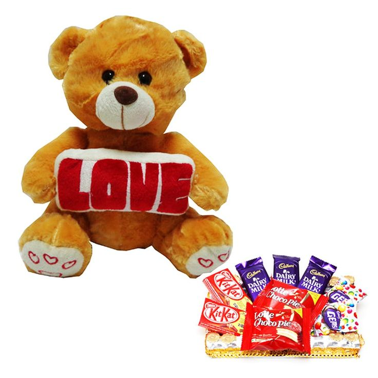 Cherish the joy of this Raksha Bandhan with Exciting gift hampers for your loved ones.  Gift Combo Of Brown Teddy Bear   The gift combo includes   # Play N Pets Bear(Brown)   # Assorted choclates which includes 3 Dairy milk, 2 Kitkat, 2 Choco pie and 2 Gems packet.