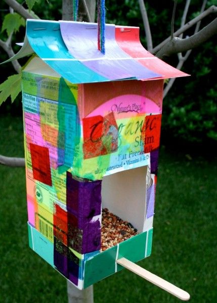 Re-use a milk carton to make a bird feeder