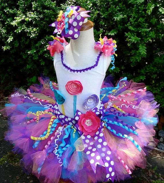 tutu tops for teens | Multi Colored Over The Top Ribbon 1st 2nd 3rd Birthday Tutu Outfit