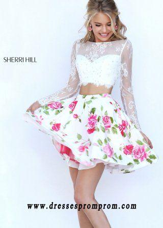 Cheap Sherri Hill 50464 Floral Print 2 Pc Chiffon Mini Dress For