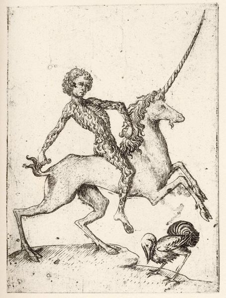 "A  ""Wildaman"" (also wildman, or ""wildman of the woods""), a well known and often used mythical figure that appears in the artwork and literature of medieval Europe,  also appearing on playing cards, here by Meister E.S."