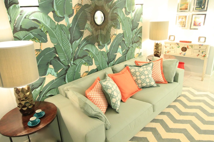 Tropical House Project by Ana Antunes - for Tv Makeover Show - zig zag rug, martinique wallpaper