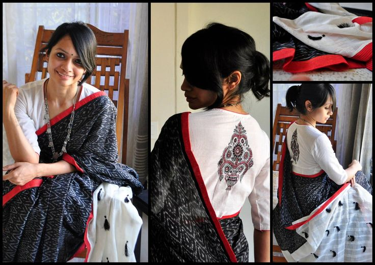 COTTON COLLECTION -THE LOST POSTCARD!  12 - BLACK MAGIC!Black soft ikat sari with deep red border and black tassles in the pallu. It comes with red plain blouse material.Price upon request (ONLY via emails/FB inbox messages).To order this sari and for other purchase related queries  kindly mail me at bhangthestore@gmail.com or send a message to FB inbox here!Orders for customising this sari can be placed only until stock lasts.  08 February 2017