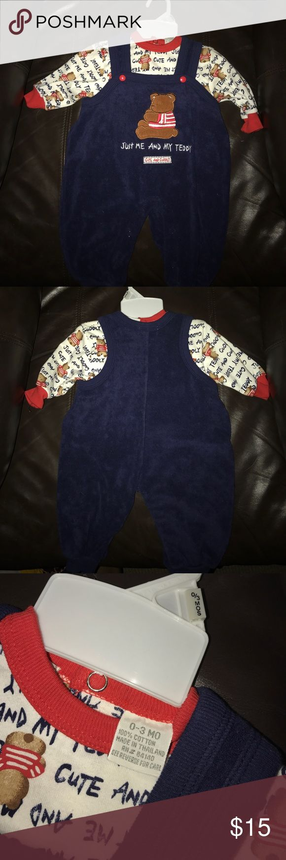 Towel material onesie set with undershirt. Never worn overall onesie with print. Towel like material. Comes with printed long sleeve undershirt also never worn. Some Bunny Matching Sets