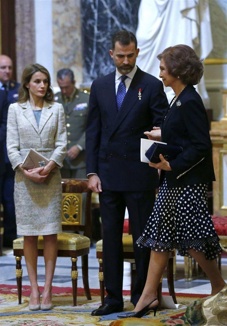 Spanish Royal Family  attend a mass commemorating the centenary of the birth of Don Juan de Borbon: Queen Sofia, Crown Princess Felipe & Letizia  6/20/13