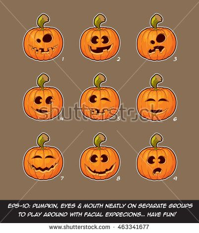 Vector icons of Jack O Lantern in 9 happy, funny n goof expressions. Each expression on separate Layer; Pumpkin, Eyes & Mouth on separate groups for further exploration of facial expressions.